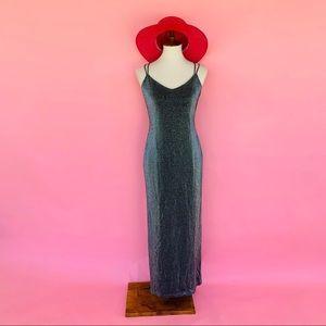 Vtg 80s Metallic CrissCross Maxi Wiggle Dress S M